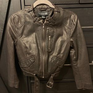 F21 brown leather jacket